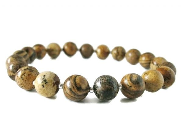 Light Brown Picture Jasper & Sterling Silver Beaded Unisex Bracelet | Silver Sensations